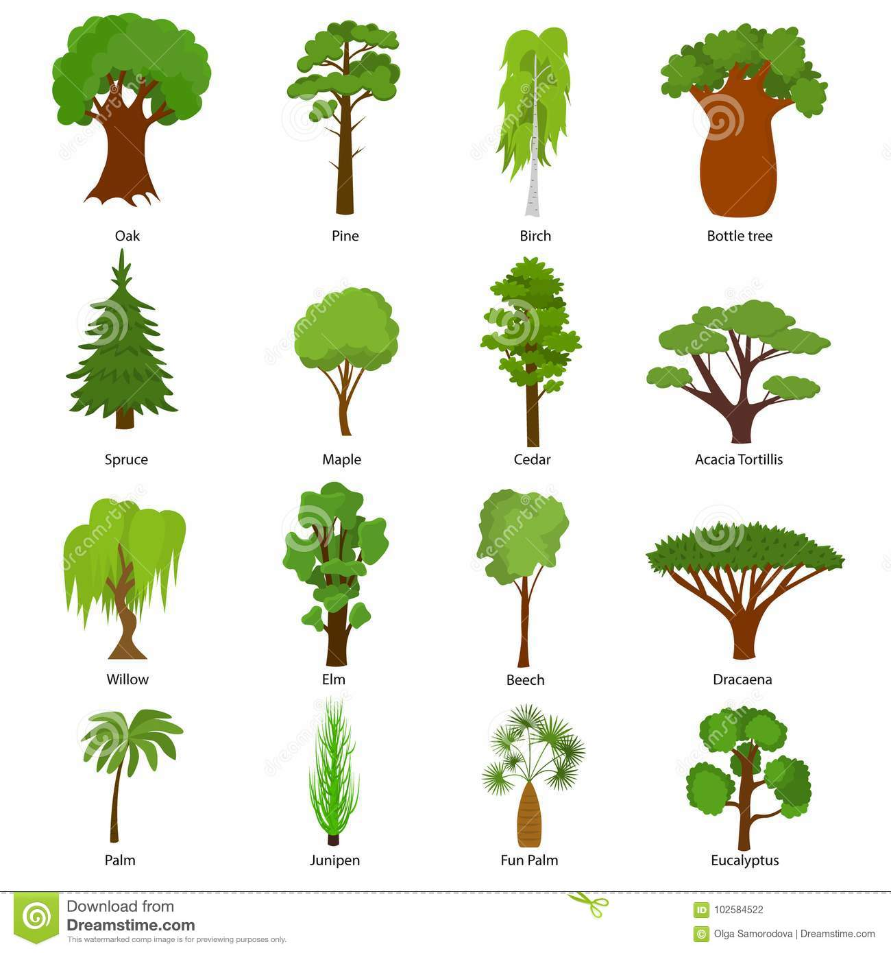 Different Green Tree Types Icons Set Vector Stock Vector