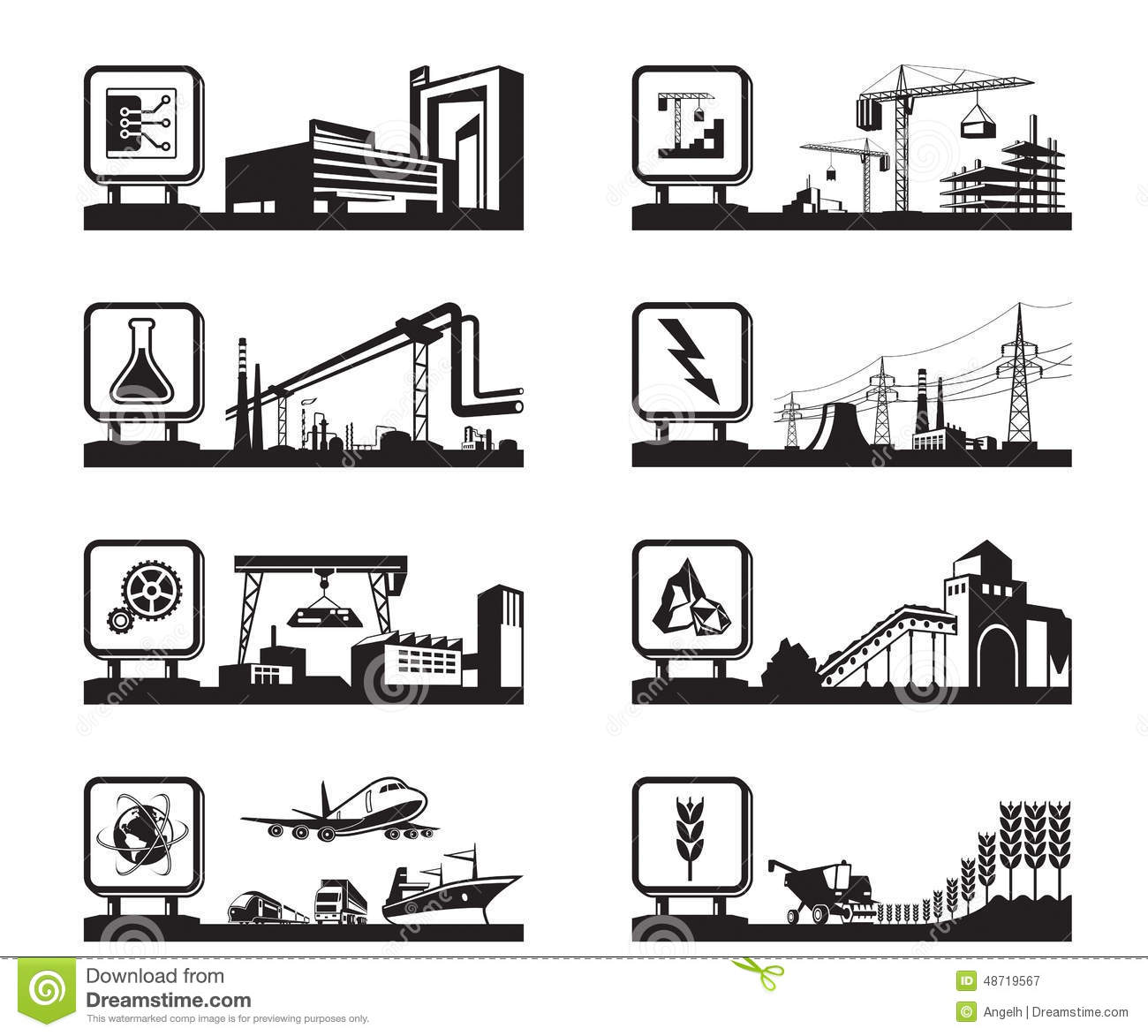 Different Industries With Logo Stock Vector
