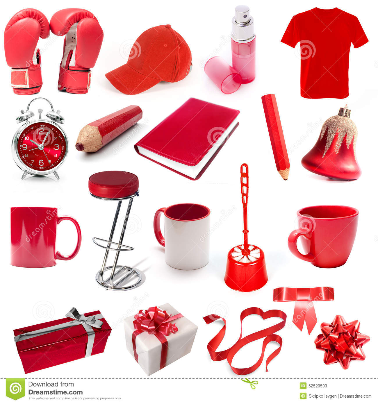 Different Isolated Objects Red Color Stock Photo