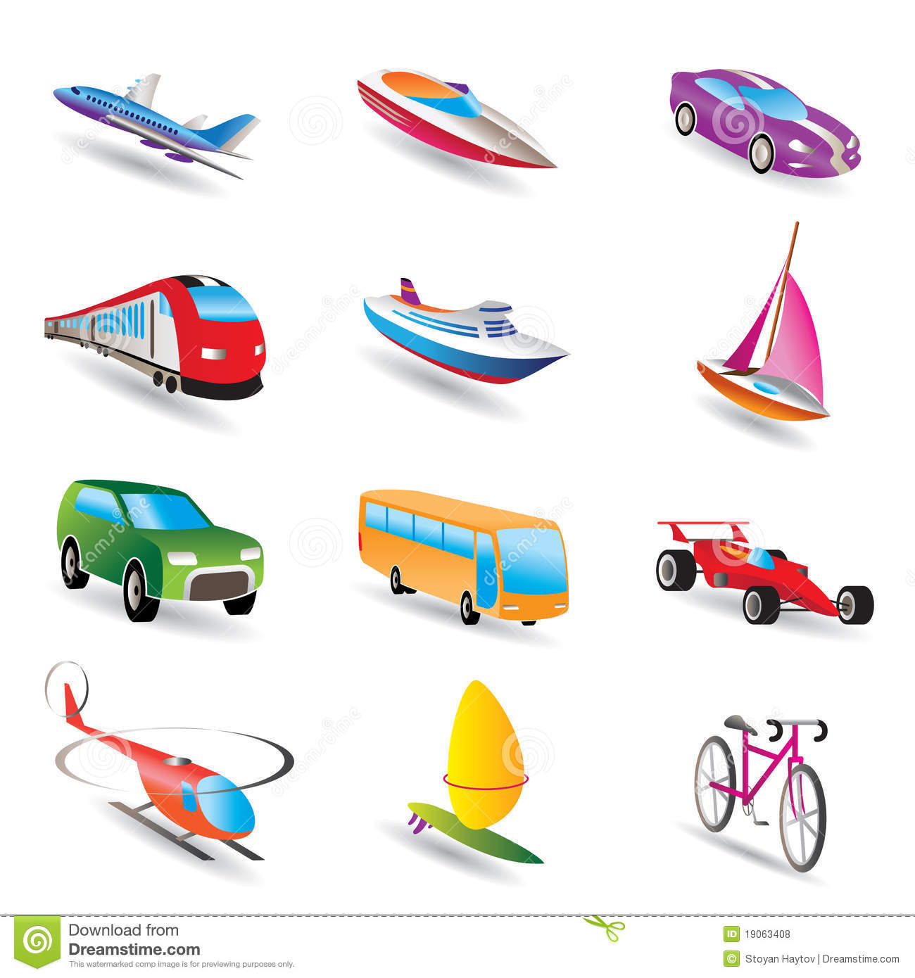 Different Kind Of Transportation And Travel Icons Stock