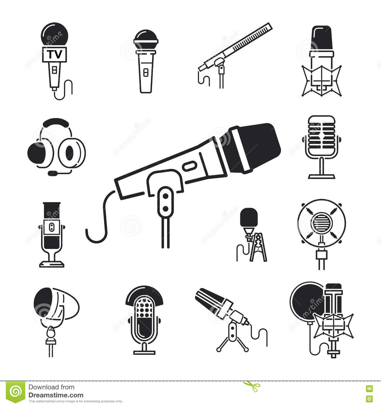 Different Microphones Types Icons Journalist Vector