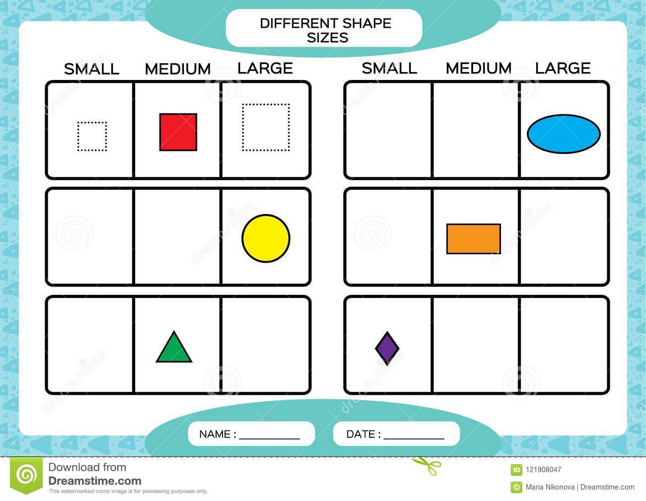Different Shape Sizes Small Medium Large Learning Basic Shapes Color Trace And Draw