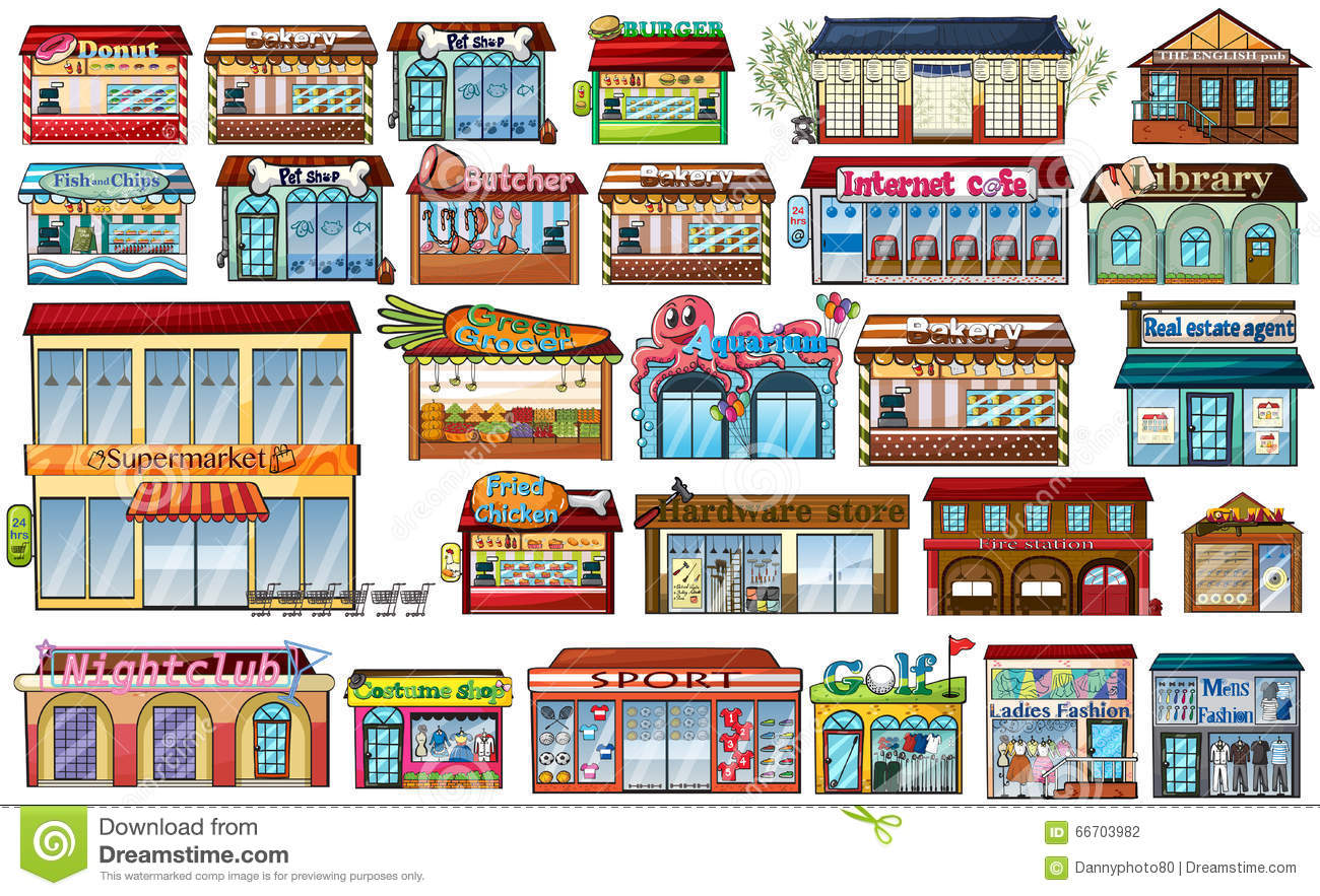 Different Shops And Buildings Stock Vector