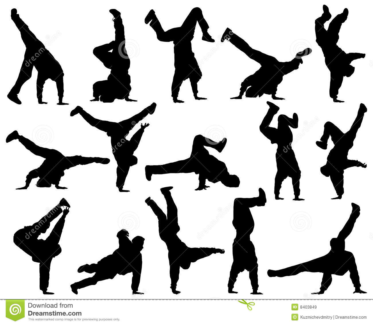 Different Silhouette Dance Stock Vector Image Of Group