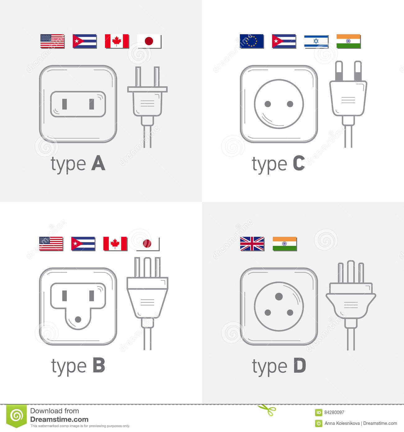 Different Type Power Socket Set Icon Illustration For