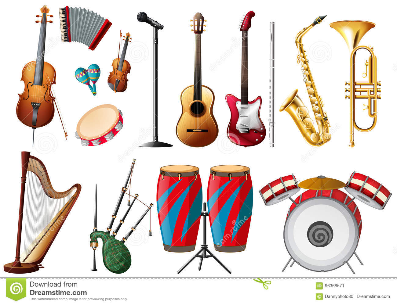 Different Types Of Musical Instruments Stock Vector