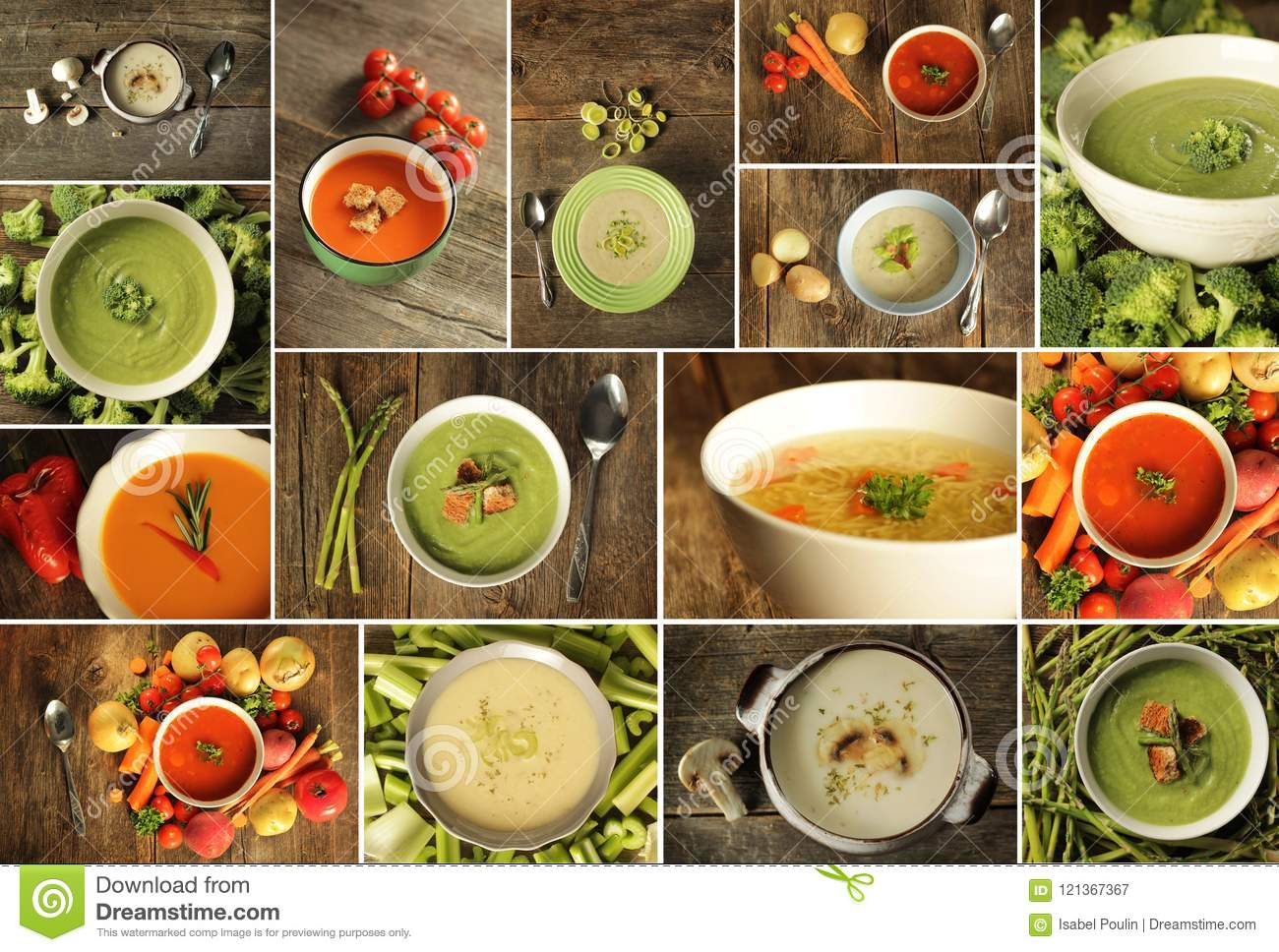Different Kind Of Soup On A Wooden Background Stock Image