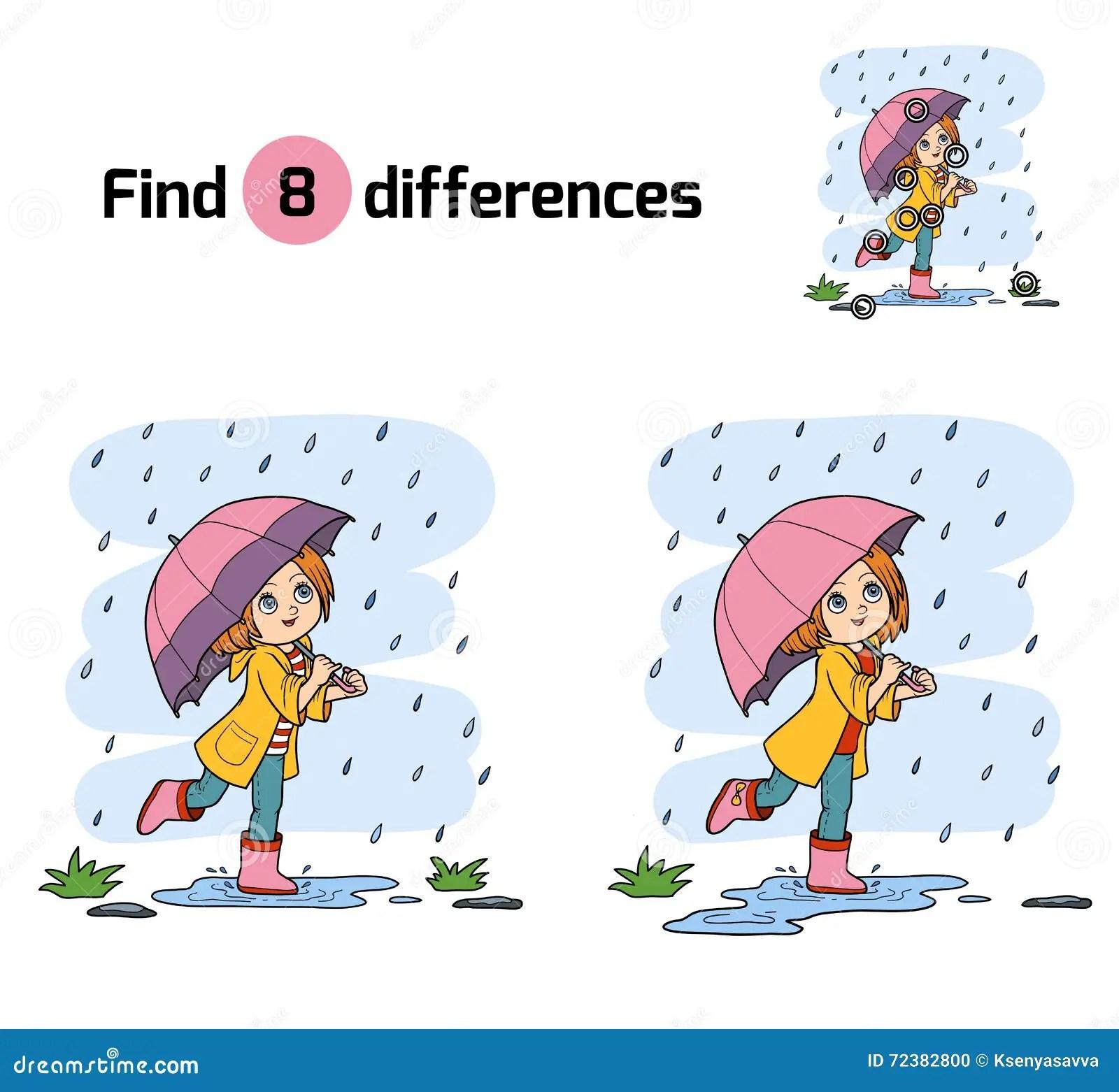 Differences De Decouverte Fille Courant Avec Un Parapluie