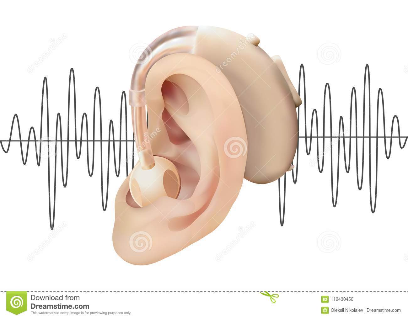 Digital Hearing Aid Behind The Ear On The Background Of
