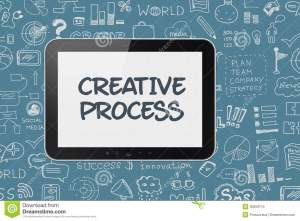 Digital Tablet With Brainstorming Process Background Stock