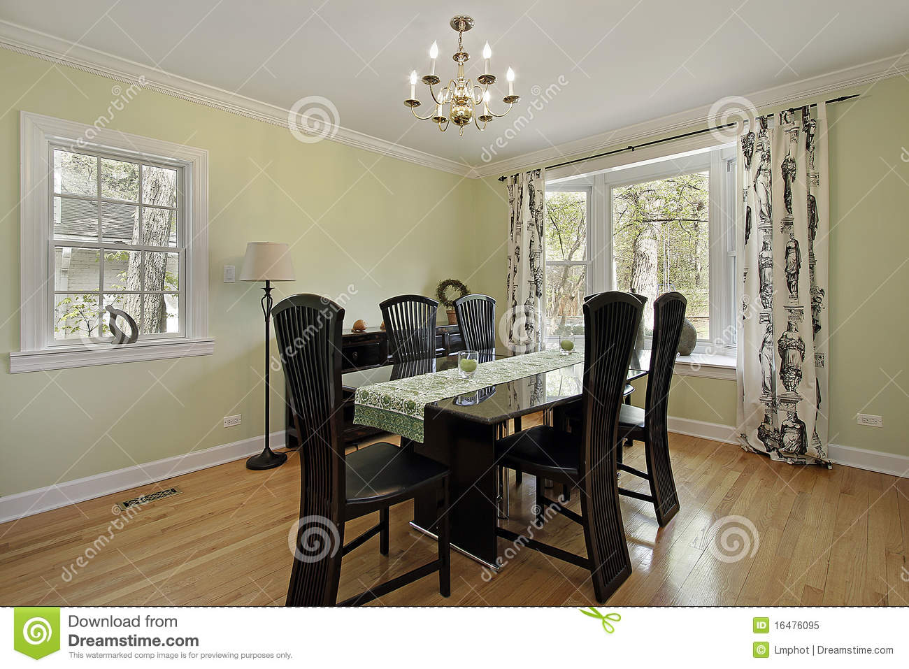 Dining Room With Light Green Walls Stock Image Image