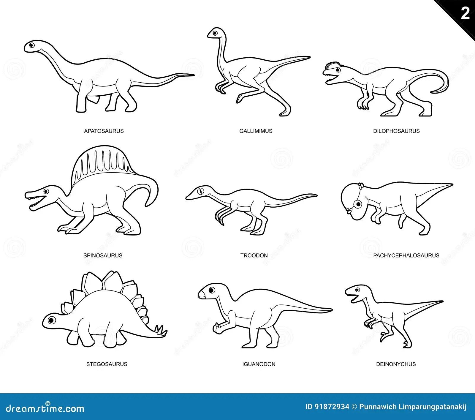 Dinosaur Coloring Book Cartoon Vector Illustration Set 2