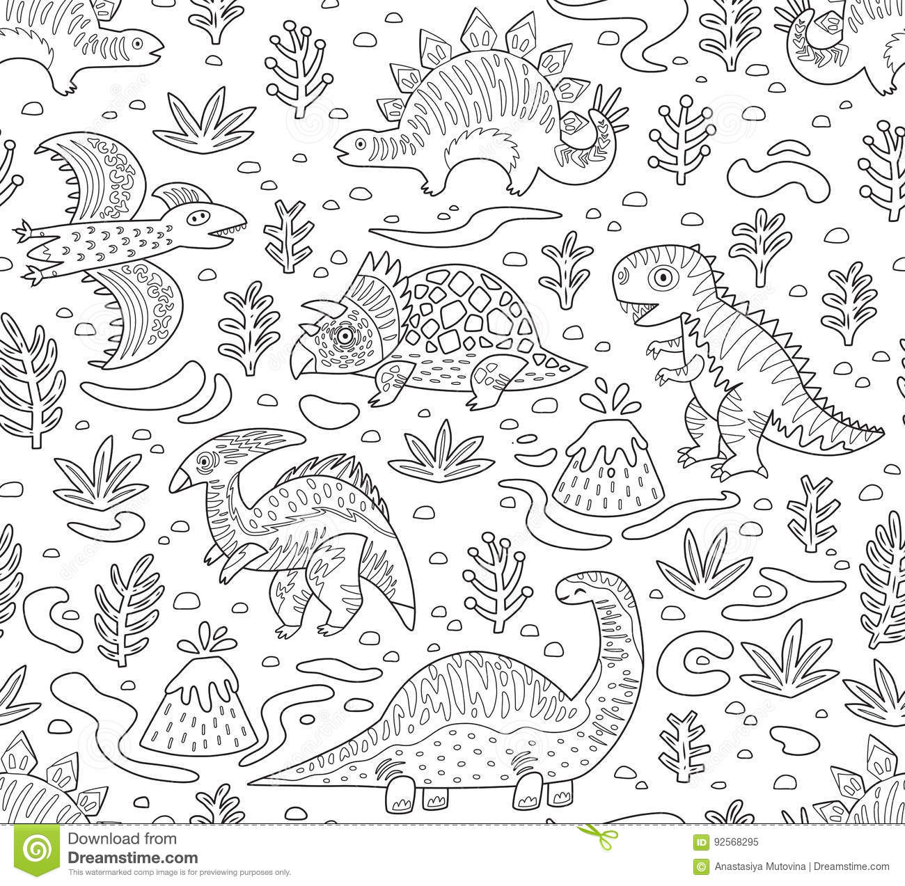 Dinosaurs Ink Seamless Pattern Coloring Book Page Stock