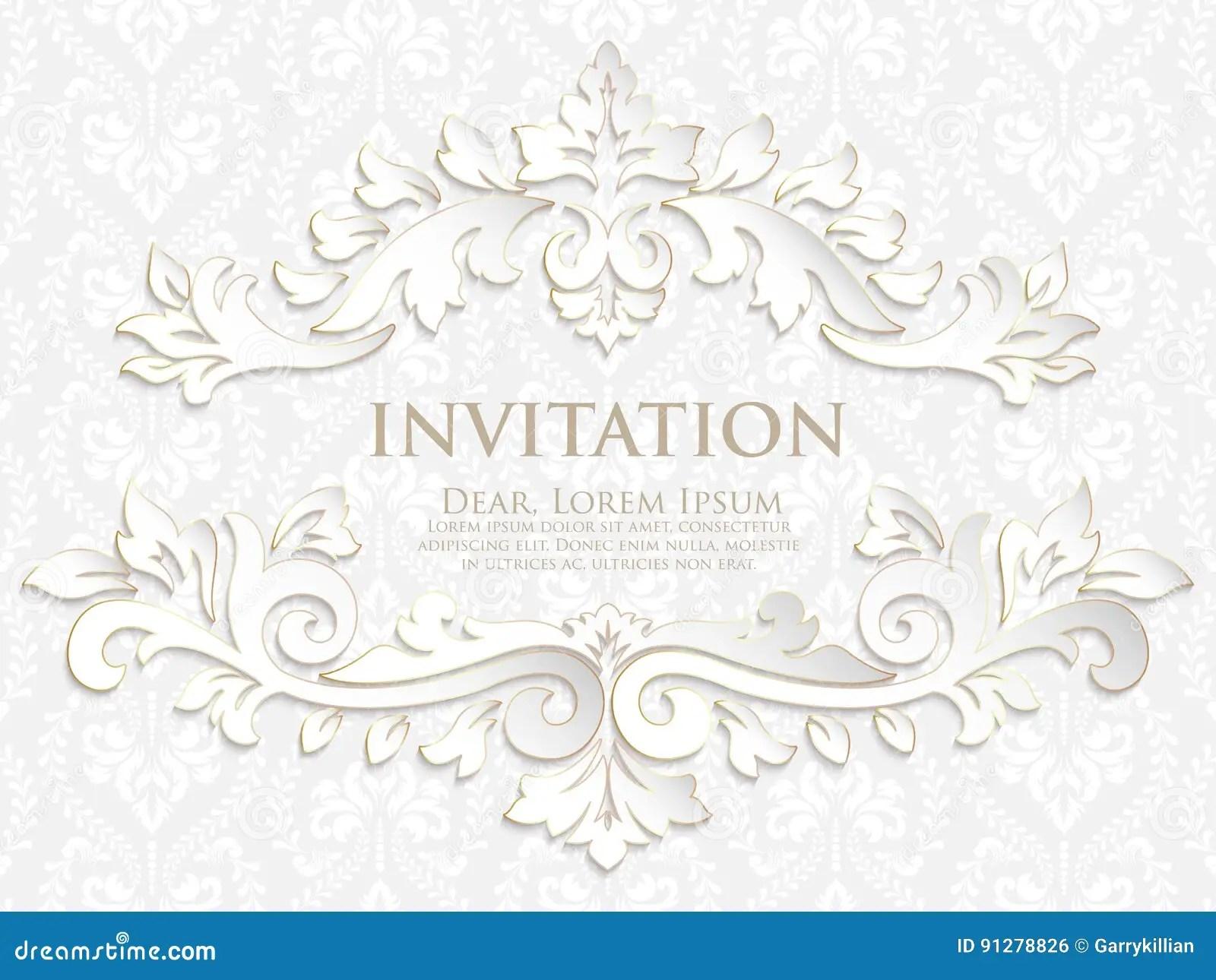 dirigez l invitation les cartes ou la carte de mariage avec le fond de damasse et les elements floraux elegants illustration de vecteur illustration du damasse sensible 91278826