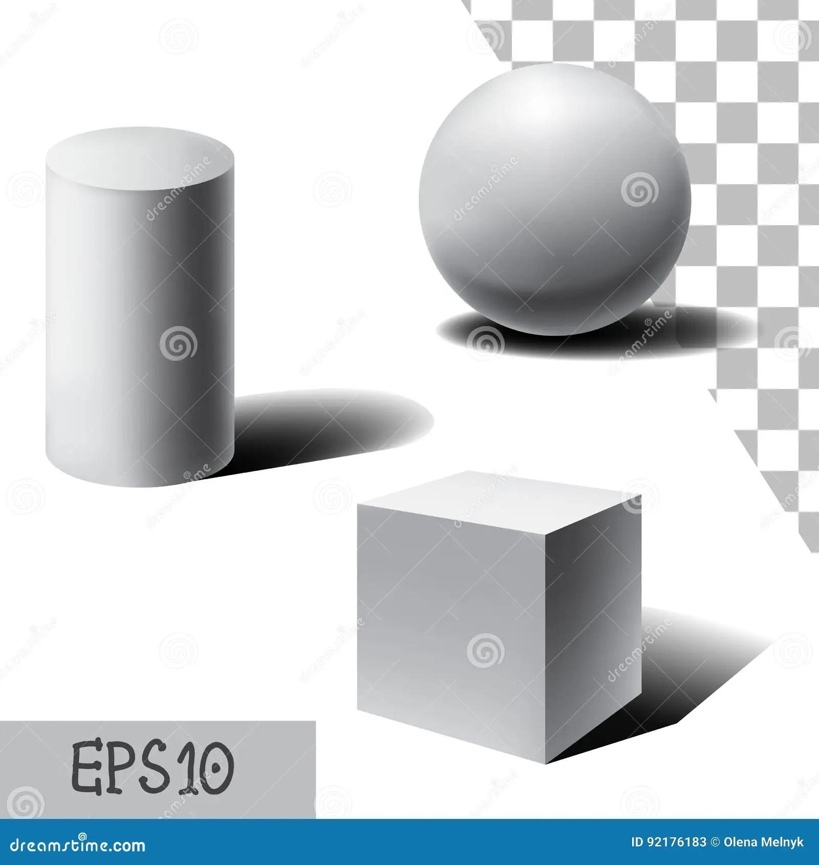 Dirigez La Sphere 3d Le Cube Et Le Cylindre Blancs Avec