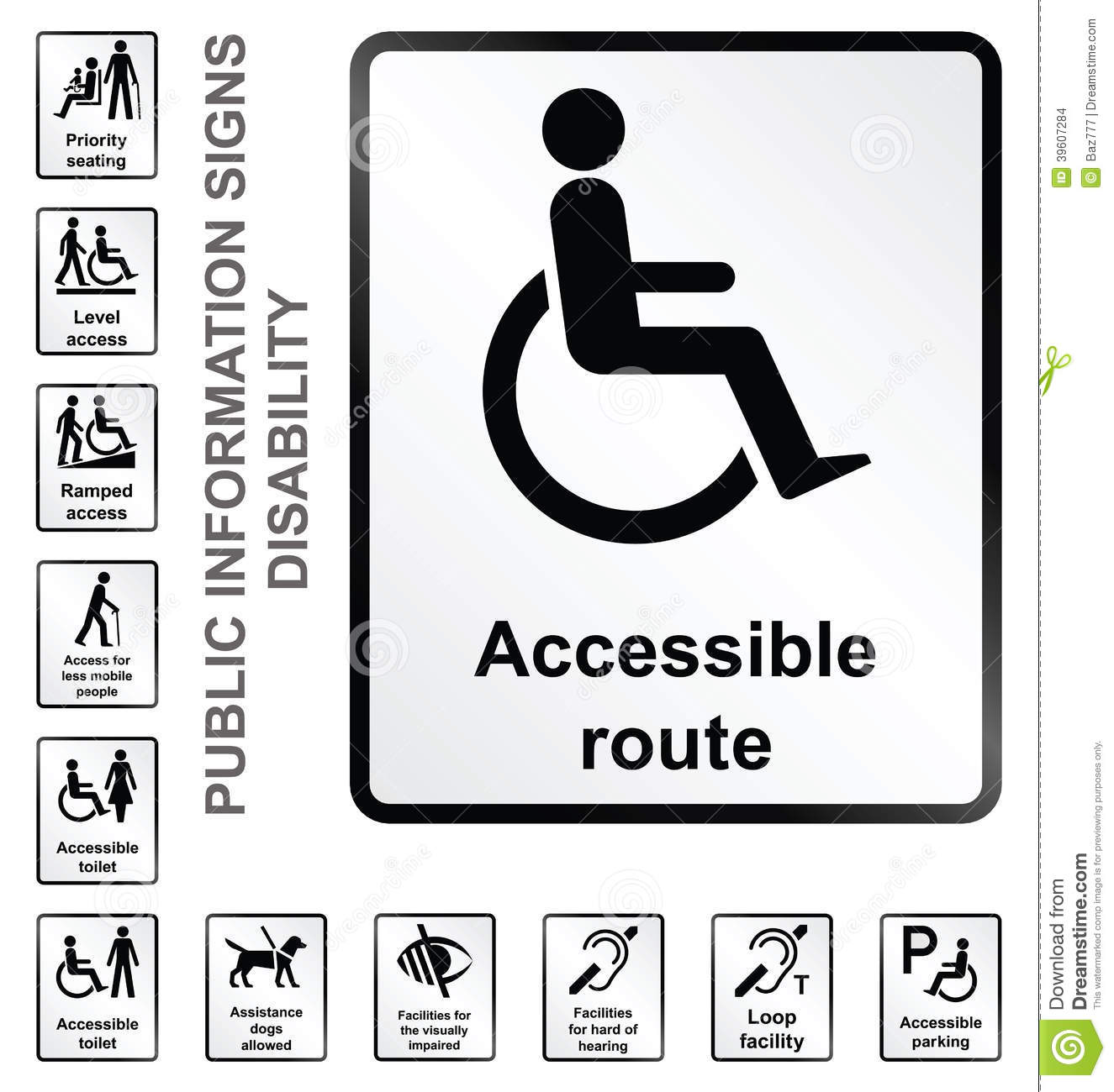 Disability Information Signs Stock Vector