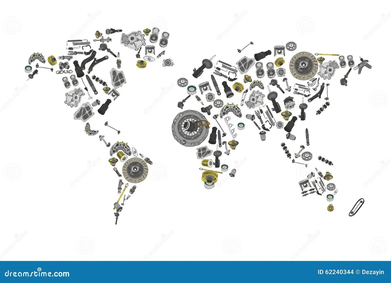 Disegni Un Mappa Del Mondo Composto Dei Pezzi Di Ricambio