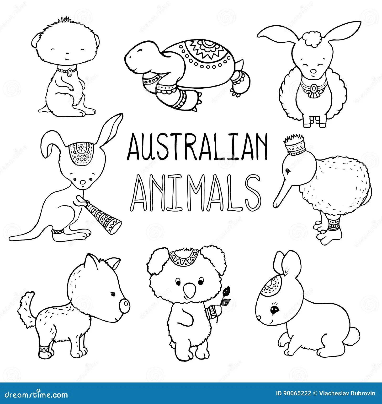 Disegno Descritto Animali Australiani Svegli Animali Dell