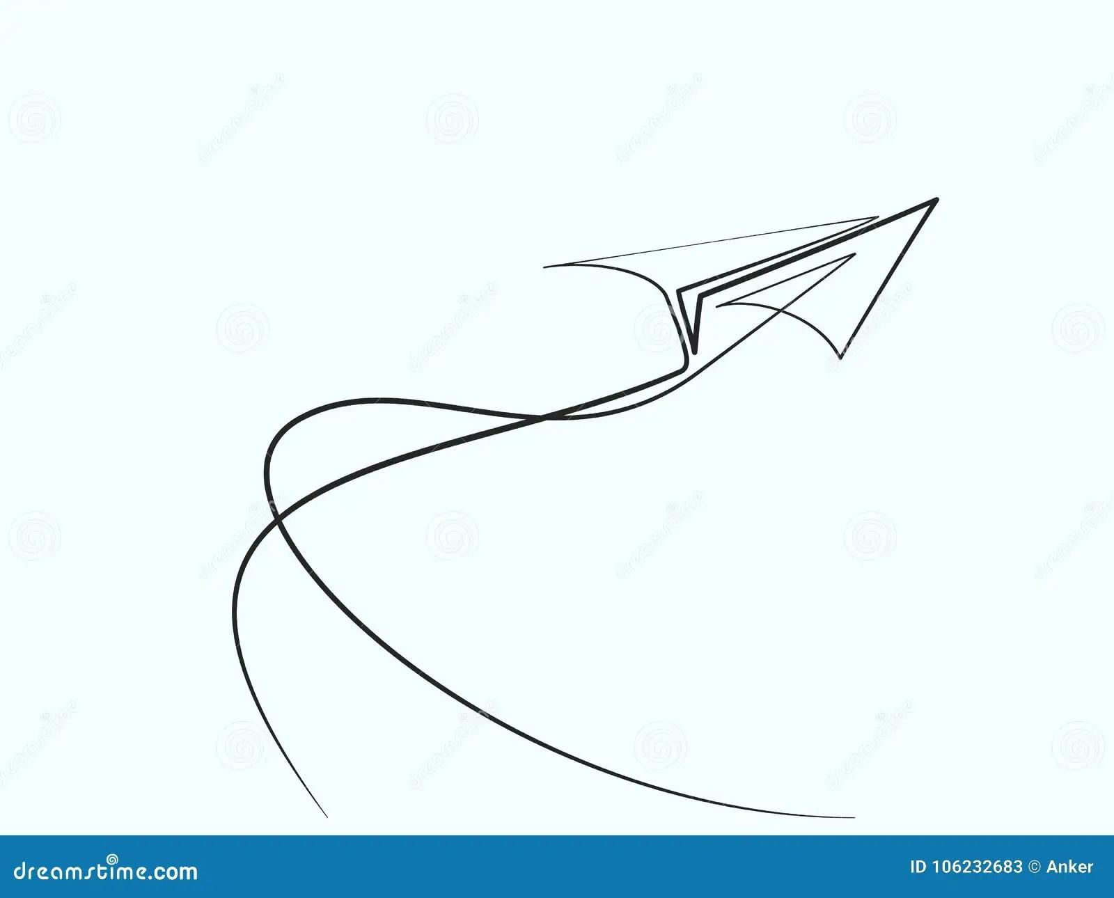 Disegno A Tratteggio Continuo Dell Aeroplano Di Carta