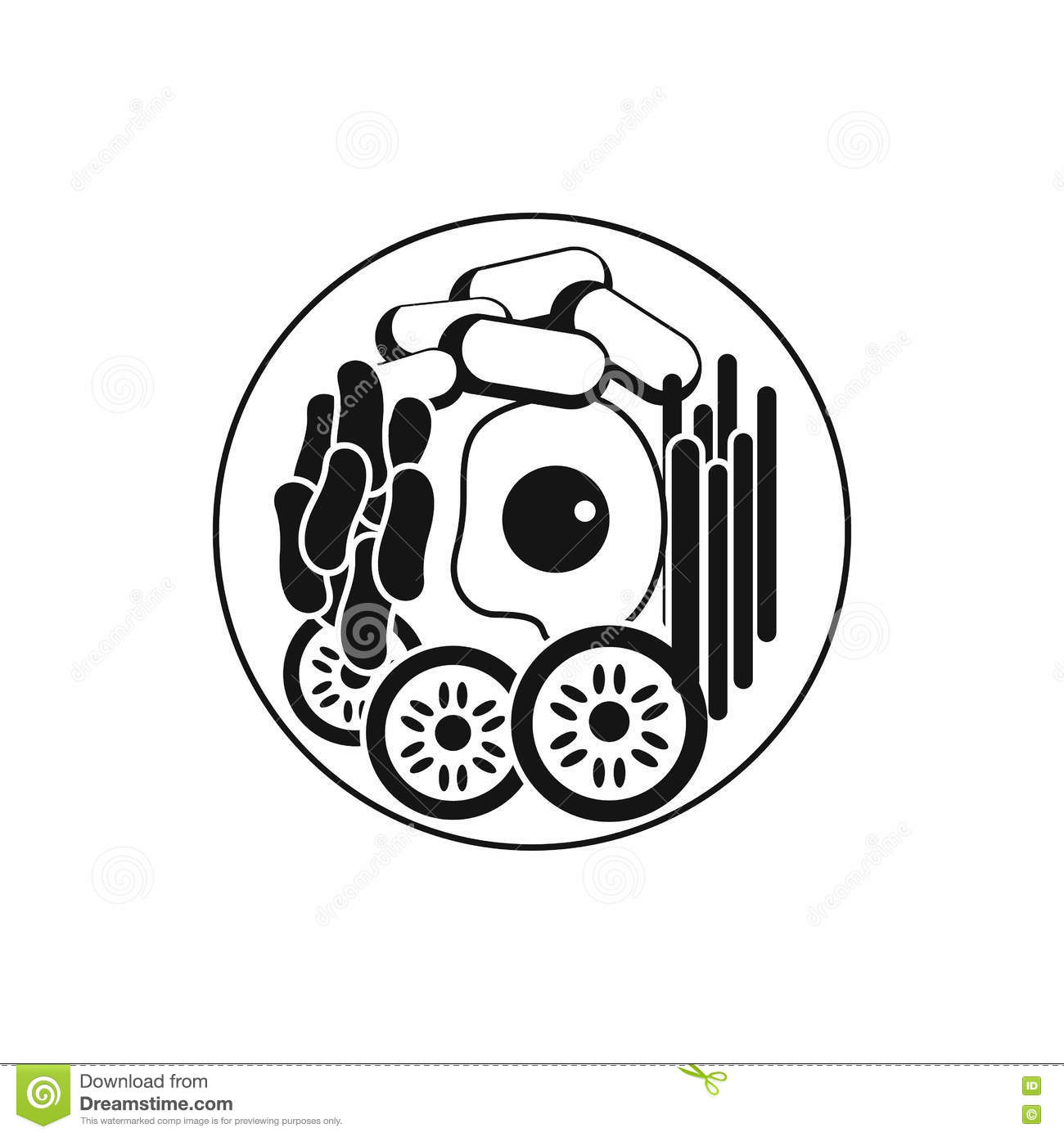 Dish Of Korean Food Icon Simple Style Stock Vector