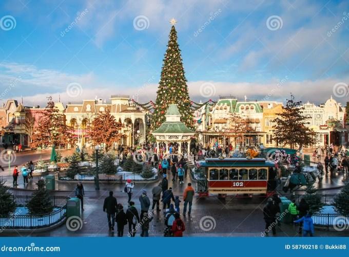 disneyland paris with christmas decorations editorial stock photo