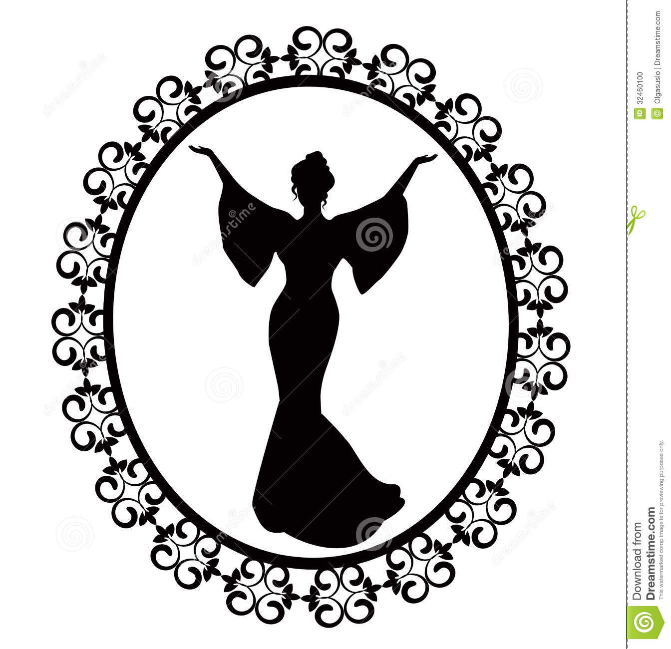 Diva In A Carved Vintage Frame Stock Illustration