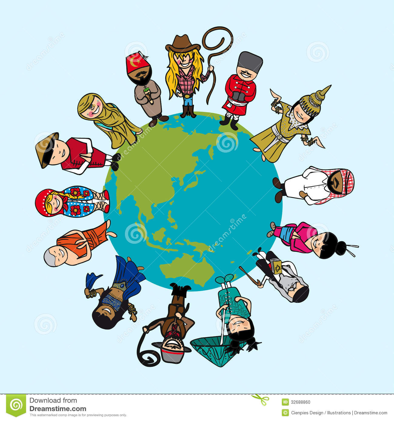 Diversity Concept People Cartoons Over Planet Ear Stock