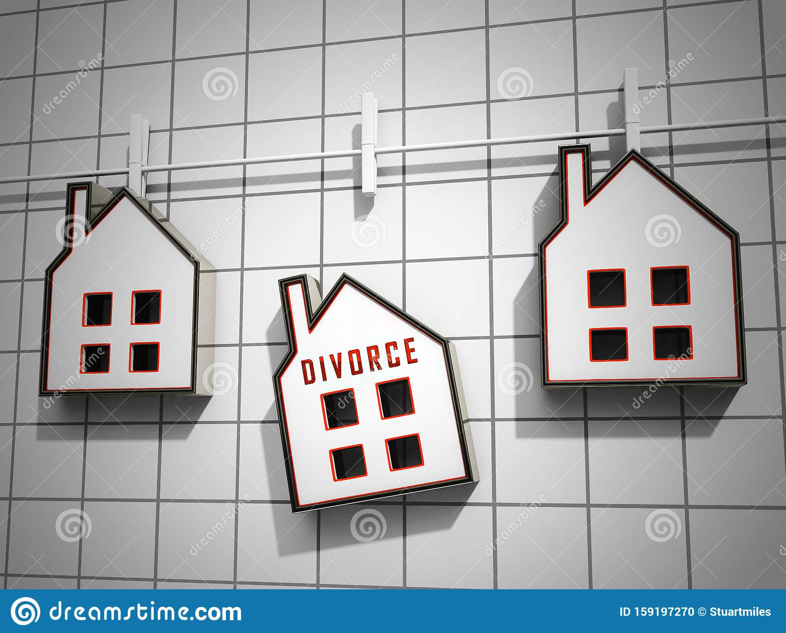 Divorce House Split Icons Depicts Legal Sharing Of