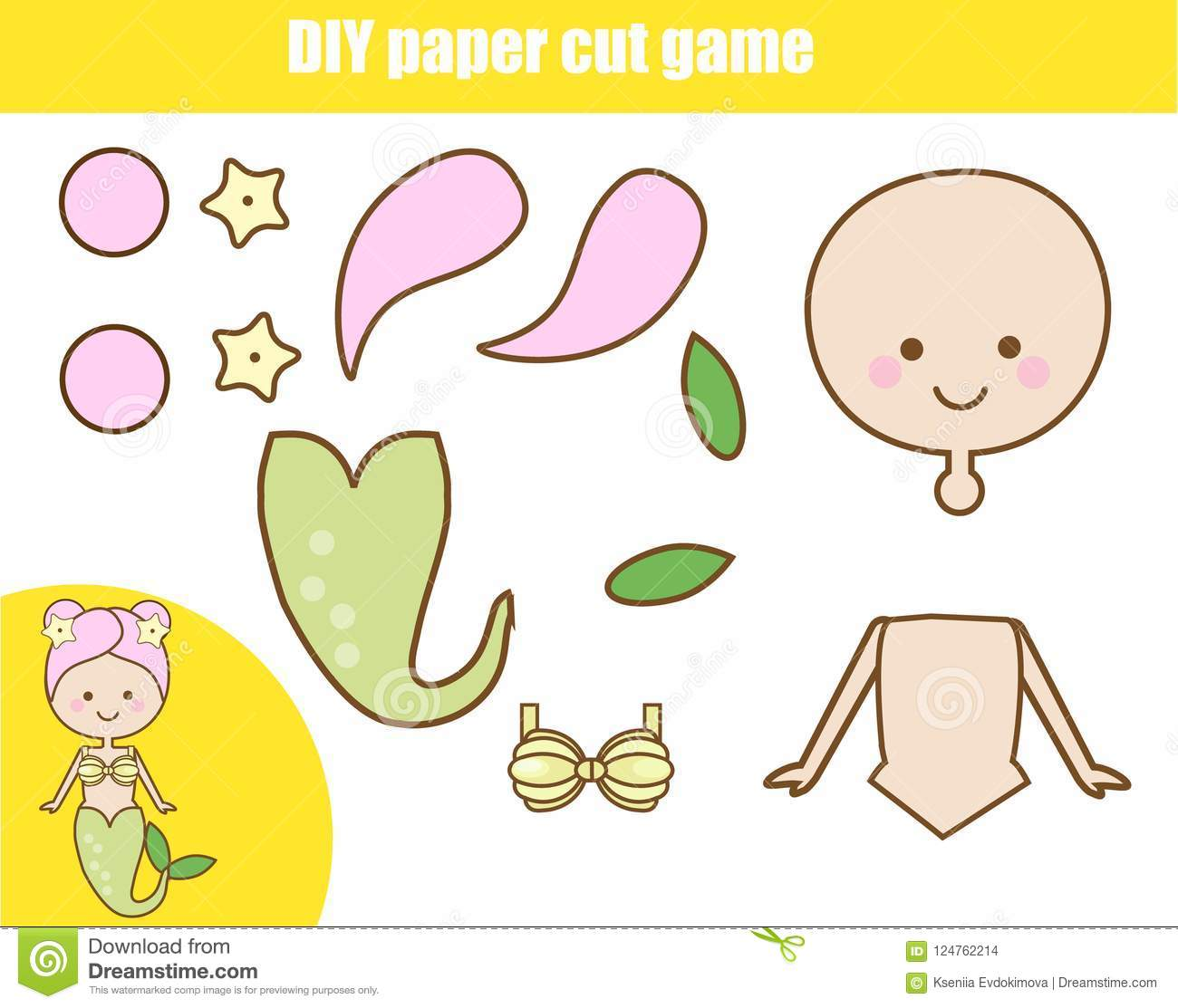 Diy Children Educational Creative Game Paper Cutting Activity Make A Mermaid With Glue Stock