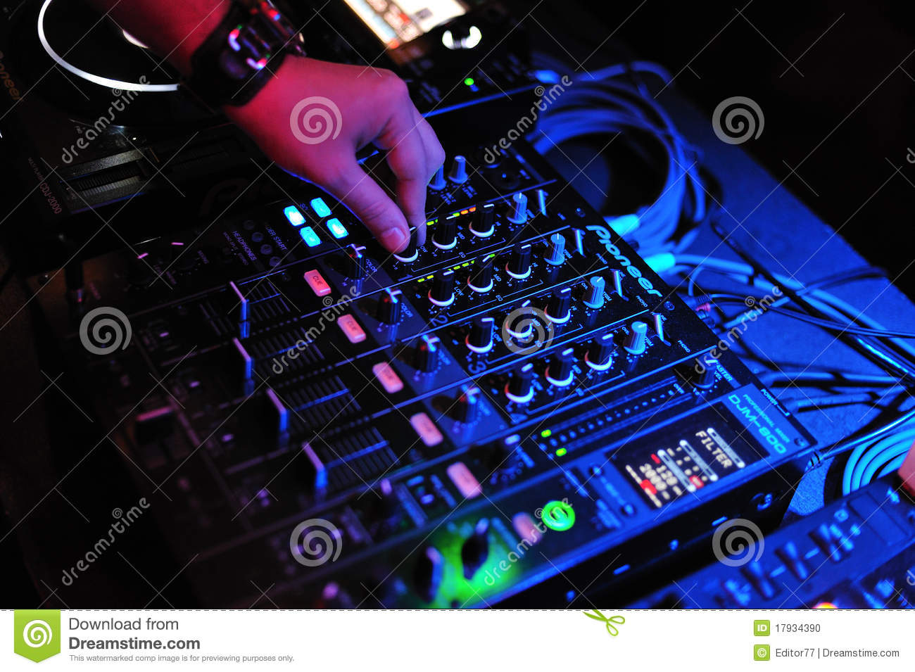 Dj Mix And Playing With Pioneer Mixer And Console