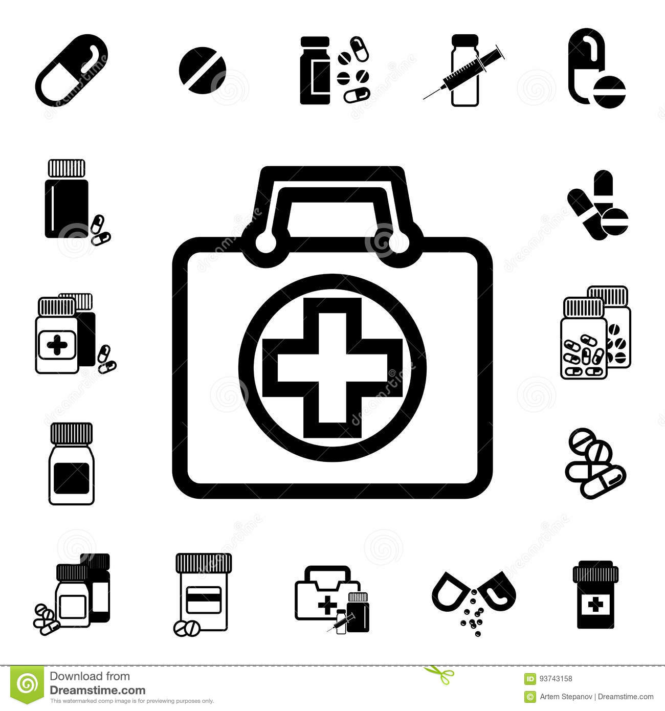 Doctors Bag With Cross Or Medical Suitcase Vector Icon