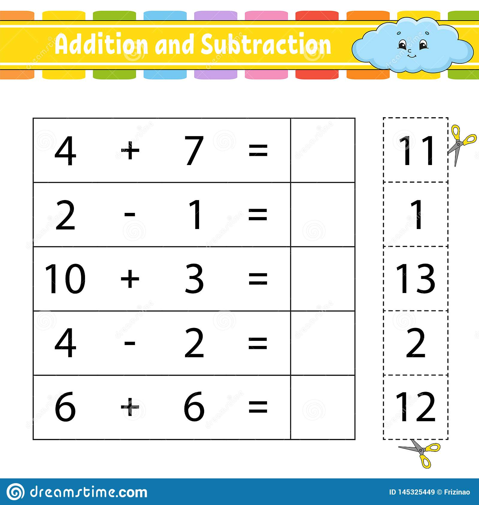 Addition And Subtraction Task For Kids Education