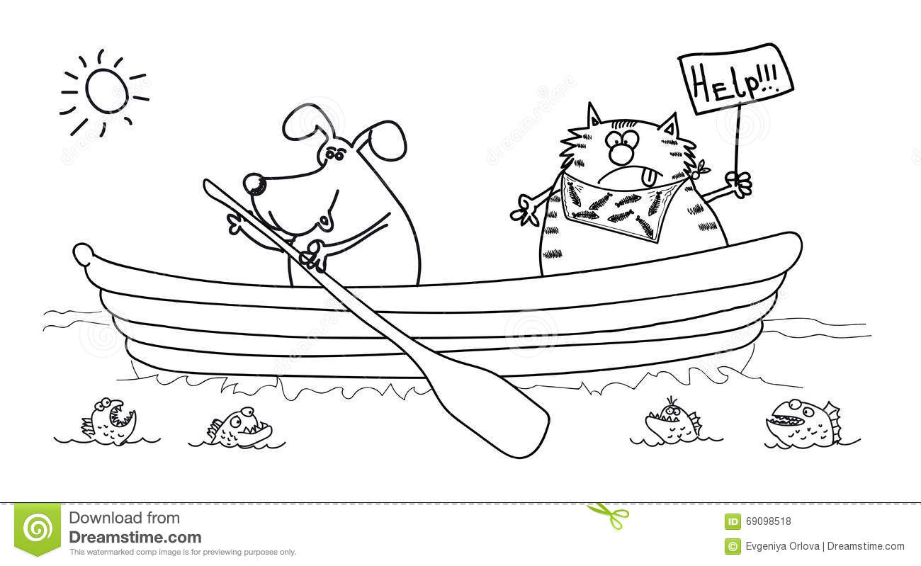 Dog And Cat In The Boat Black White Drawing Stock Vector