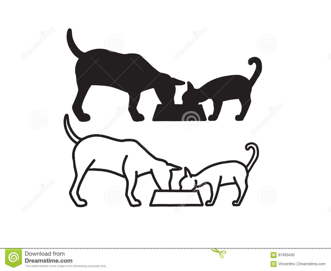 Dog And Cat Sharing Meal On Bowl Logo Design Illustration