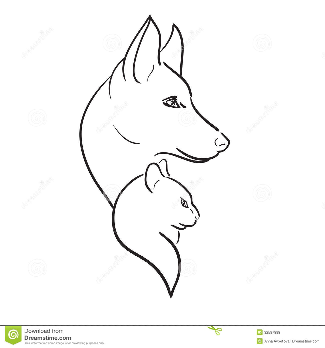Dog And Cat Silhouettes Vector Sketch Stock Illustration
