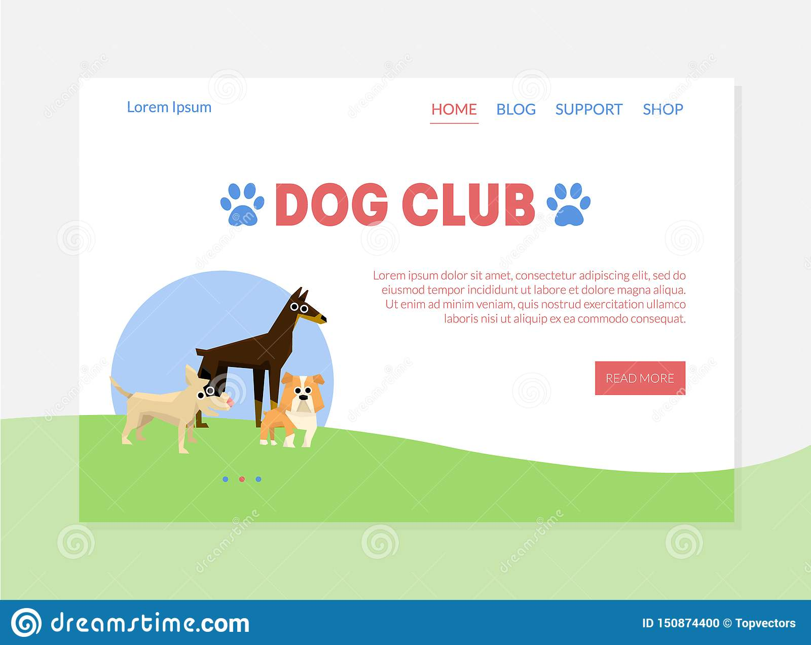 Dog Club Banner Landing Page Template With Place For Text