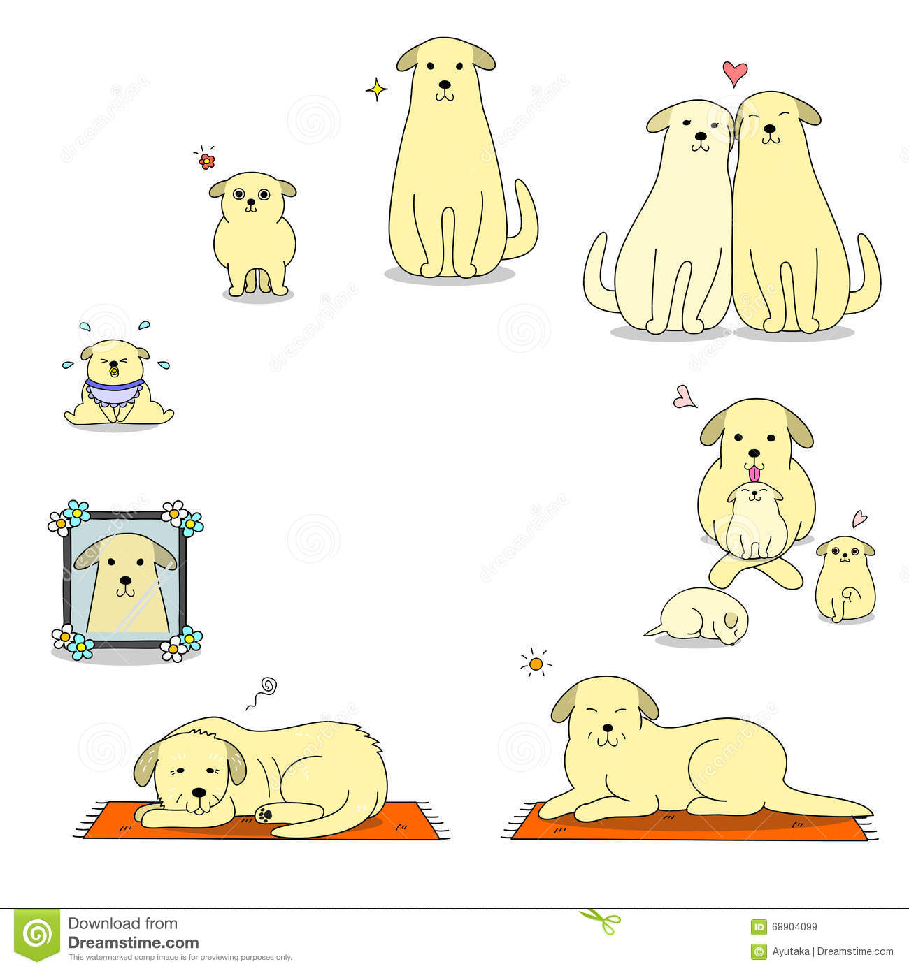 Dog S Life Cycle Stock Vector Illustration Of Hand