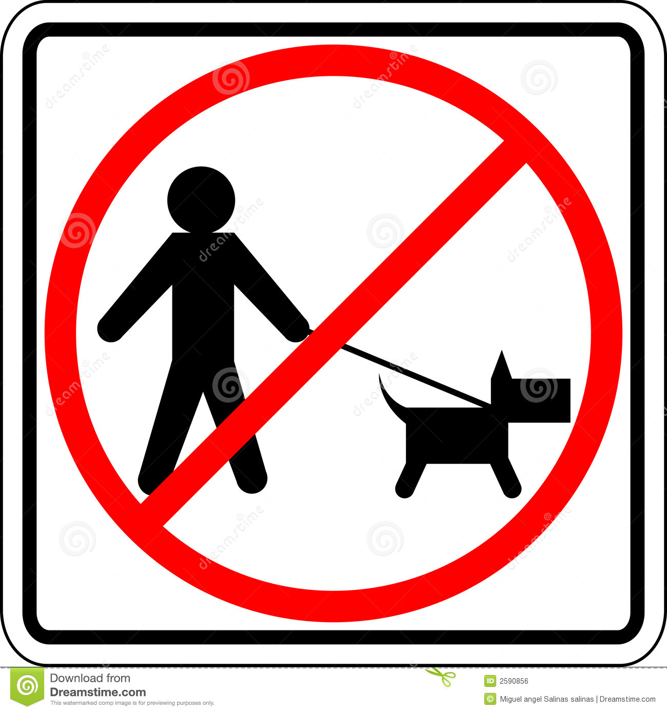 Dog Walk Prohibited Vector Sign Stock Vector