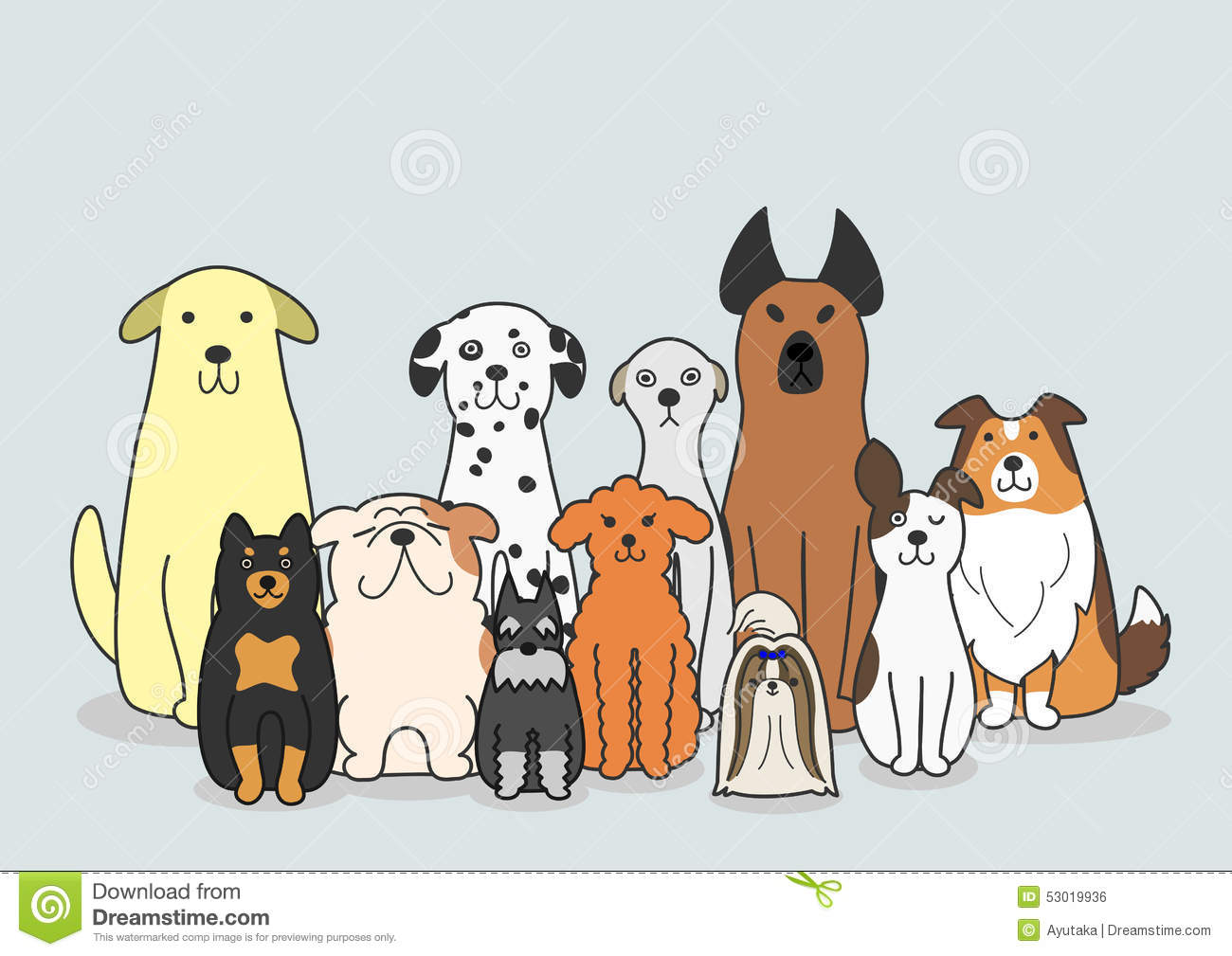 Dogs Group Stock Vector