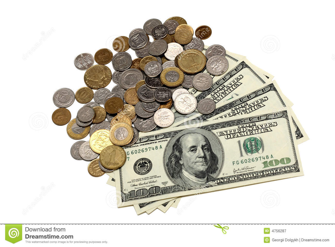 Dollar Bills And Coins Stock Image Image Of Isolated