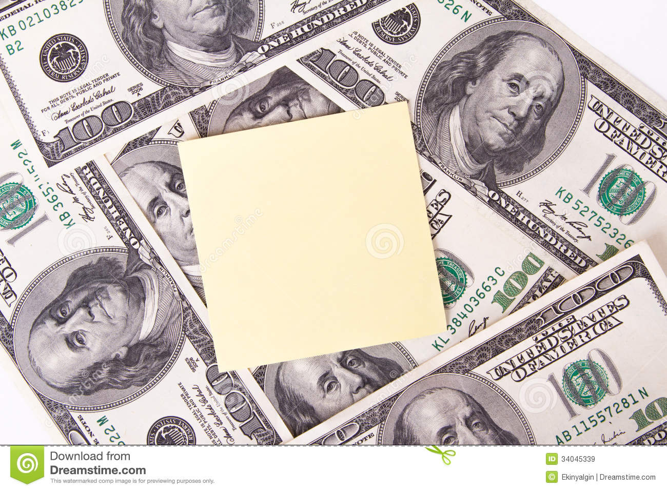 Dollar Bills And Sticky Post Stock Image