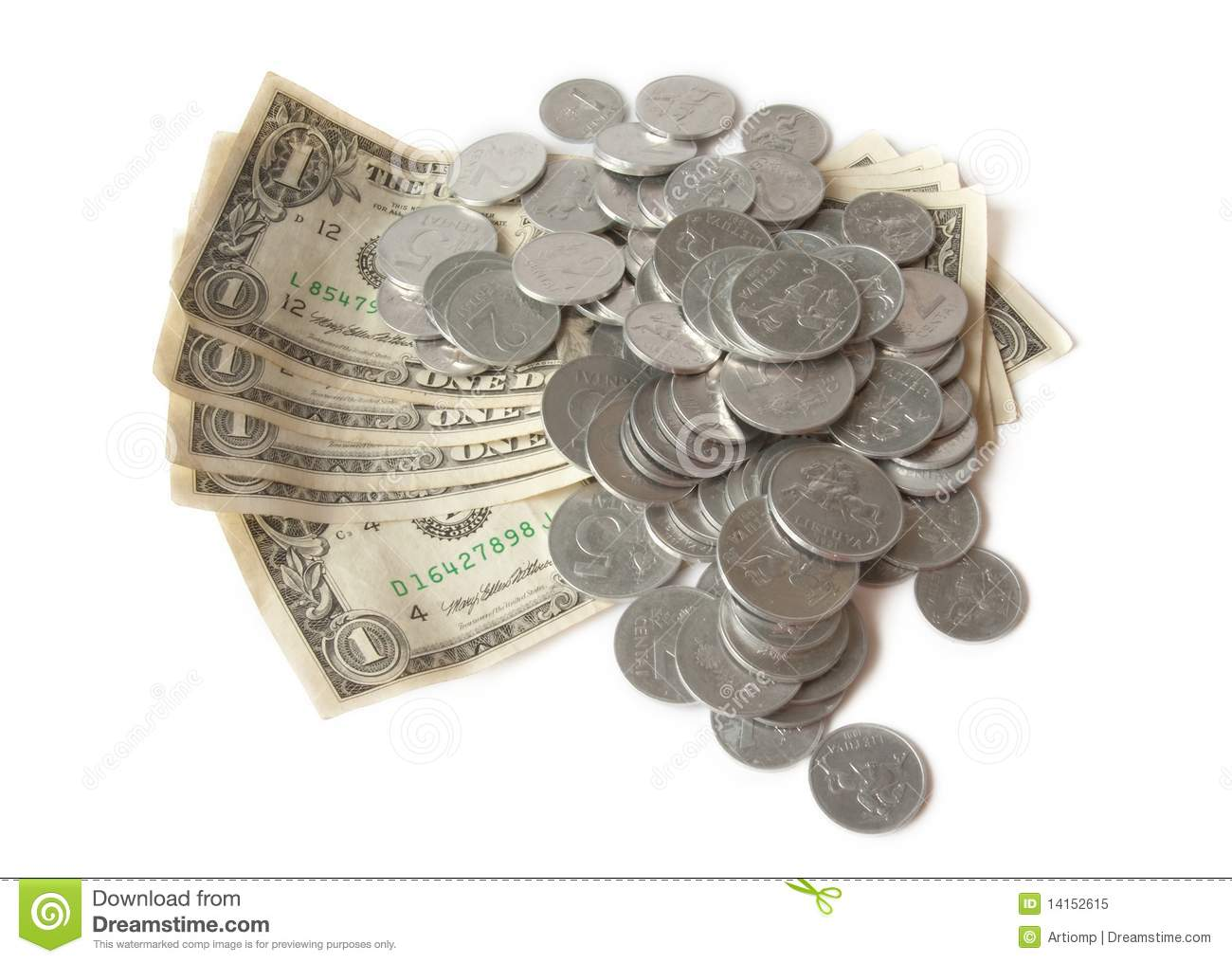 Dollars And Cents Over White Stock Image