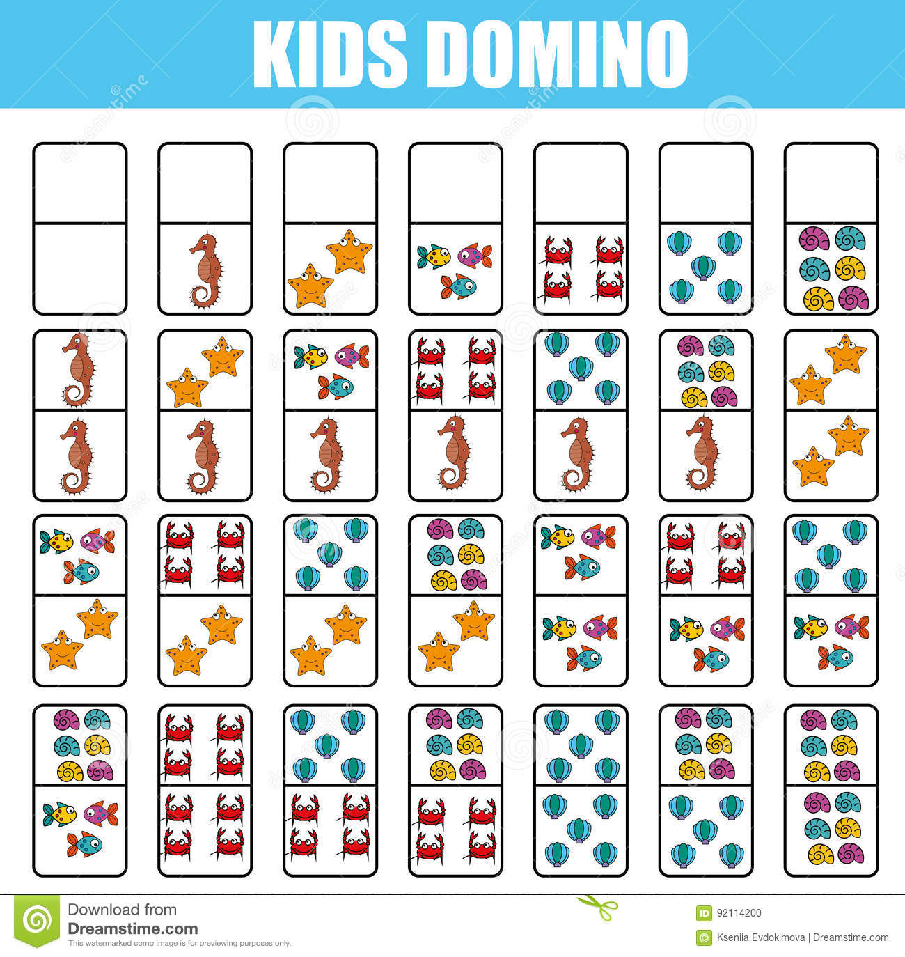 Domino For Kids Children Educational Game Printable Activity Board Game Stock Vector