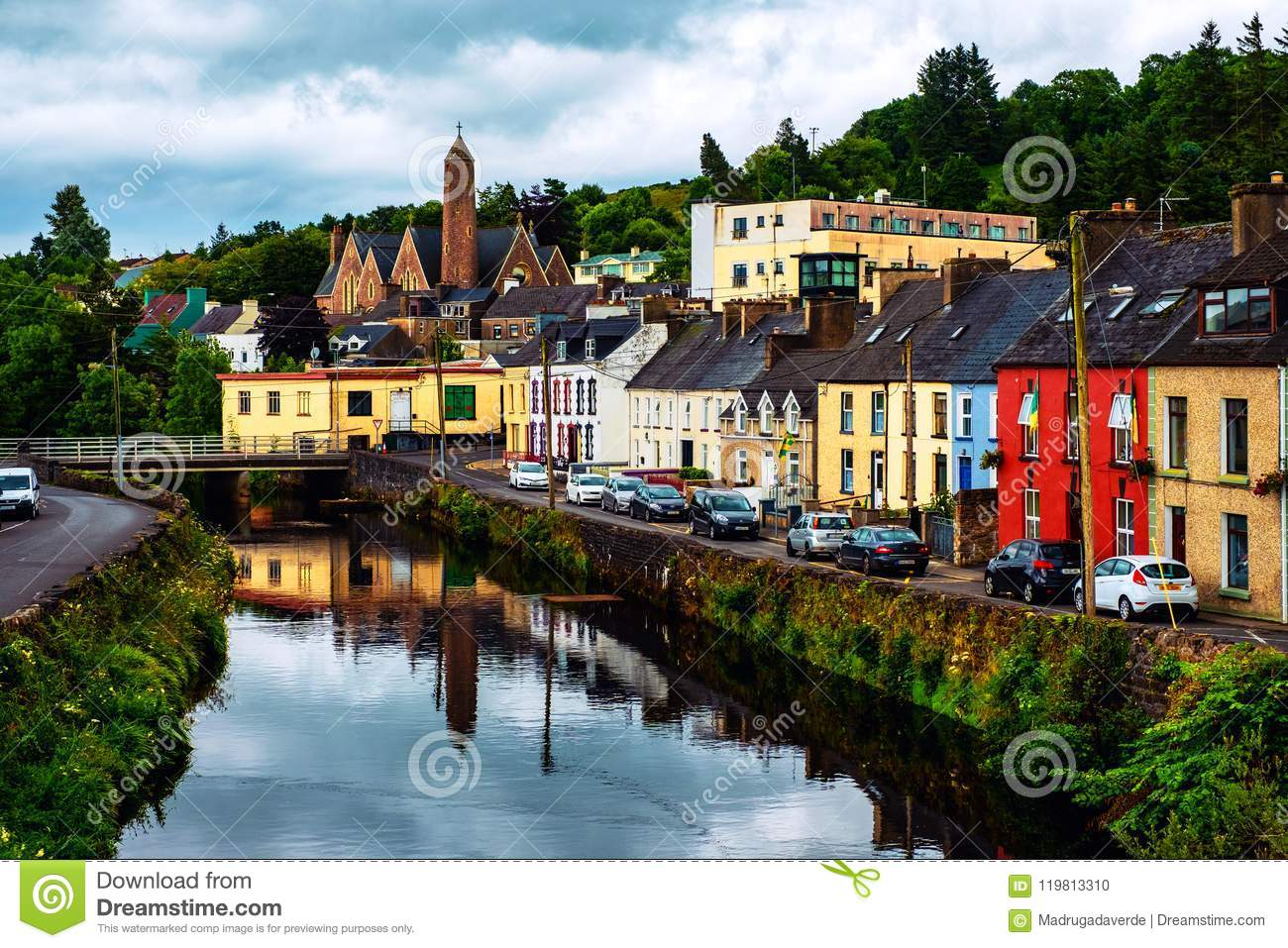 Beautiful Landscape In Donegal Ireland With River And