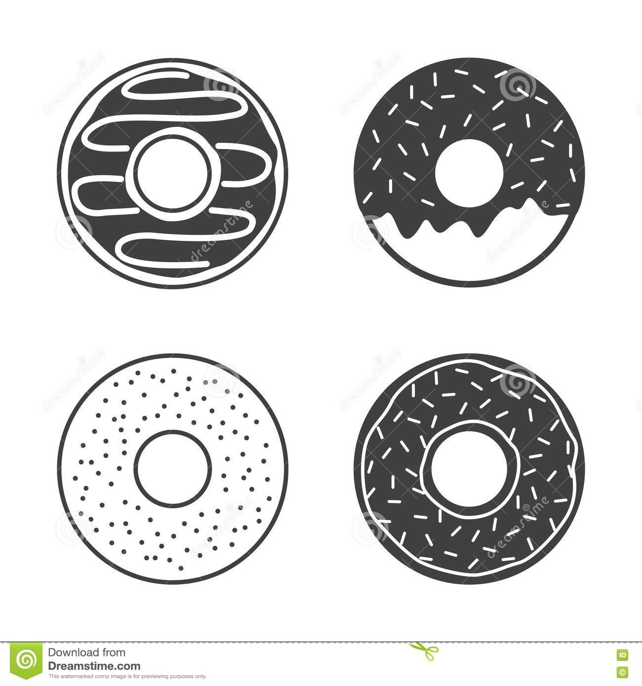 Fast Food Line Icons On White Background Cartoon Vector