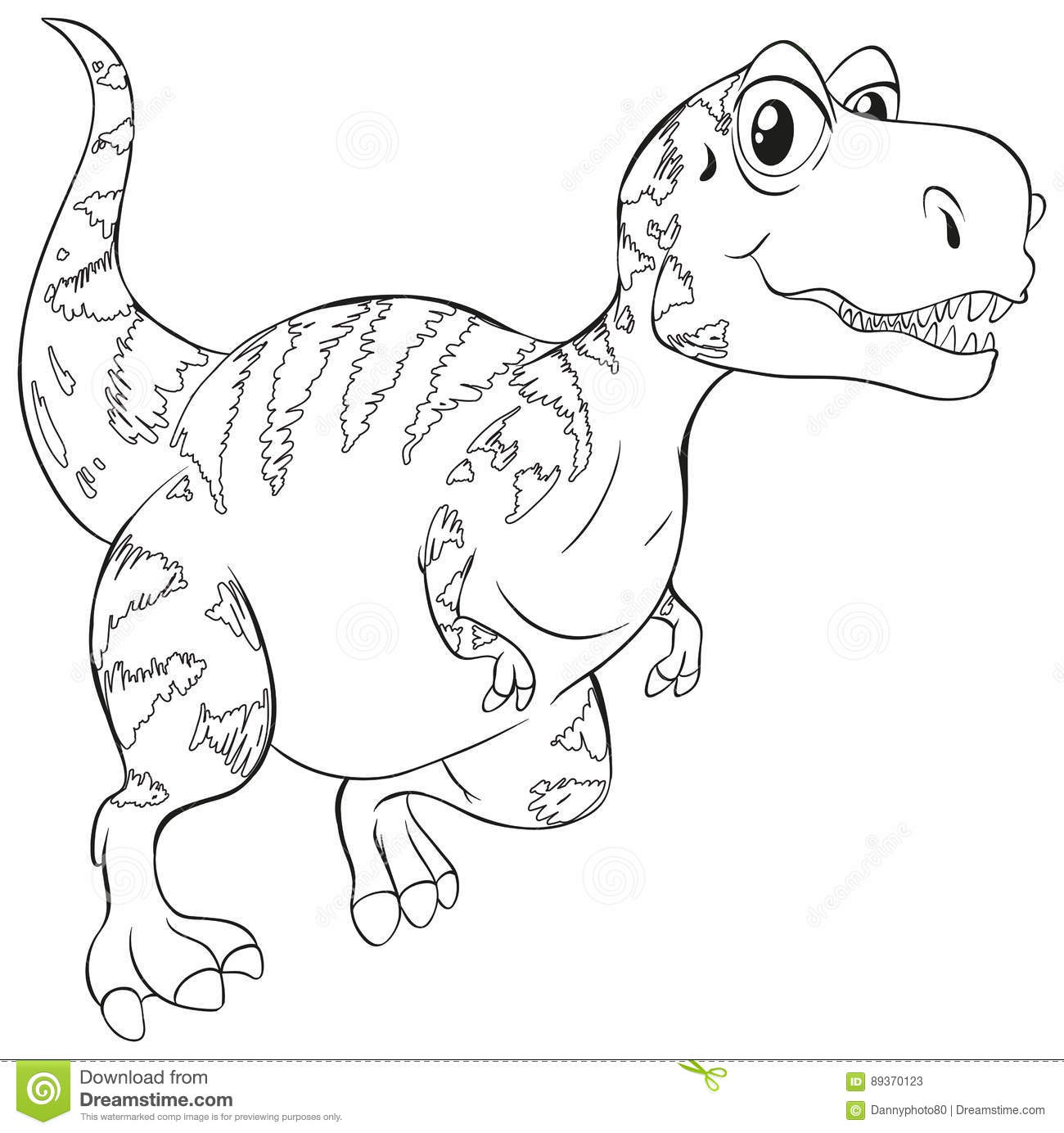 Doodle Animal For T Rex Dinosaur Stock Illustration