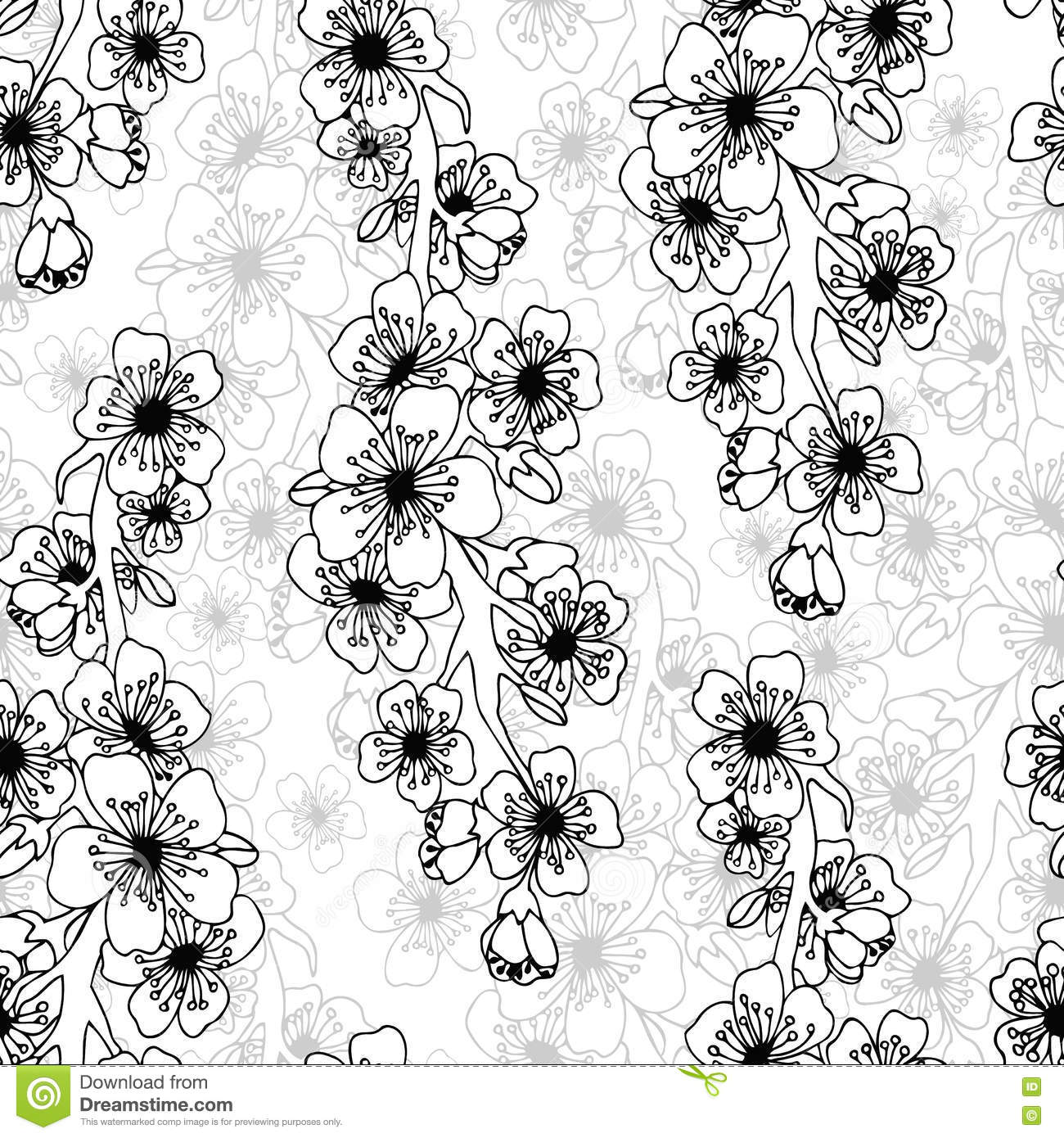 Doodle Art Abstract Seamless Pattern With Flowers Stock Vector