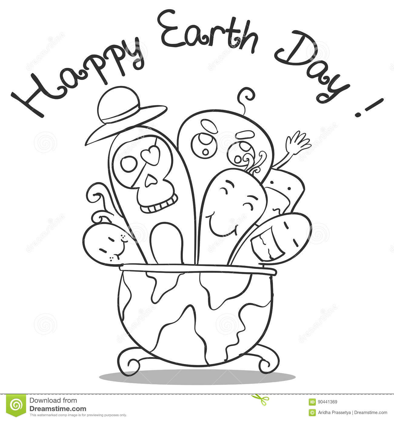 Doodle Art Earth Day Hand Draw Stock Vector