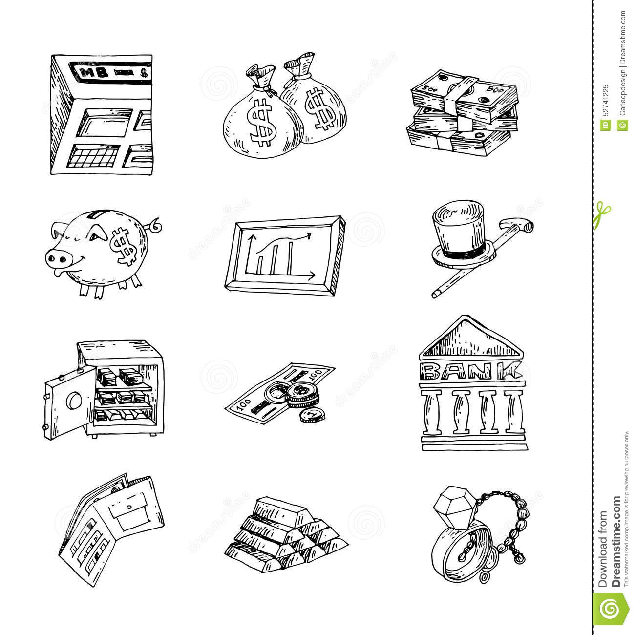 Doodle Bank Icon Hand Drawn Illustration Vector