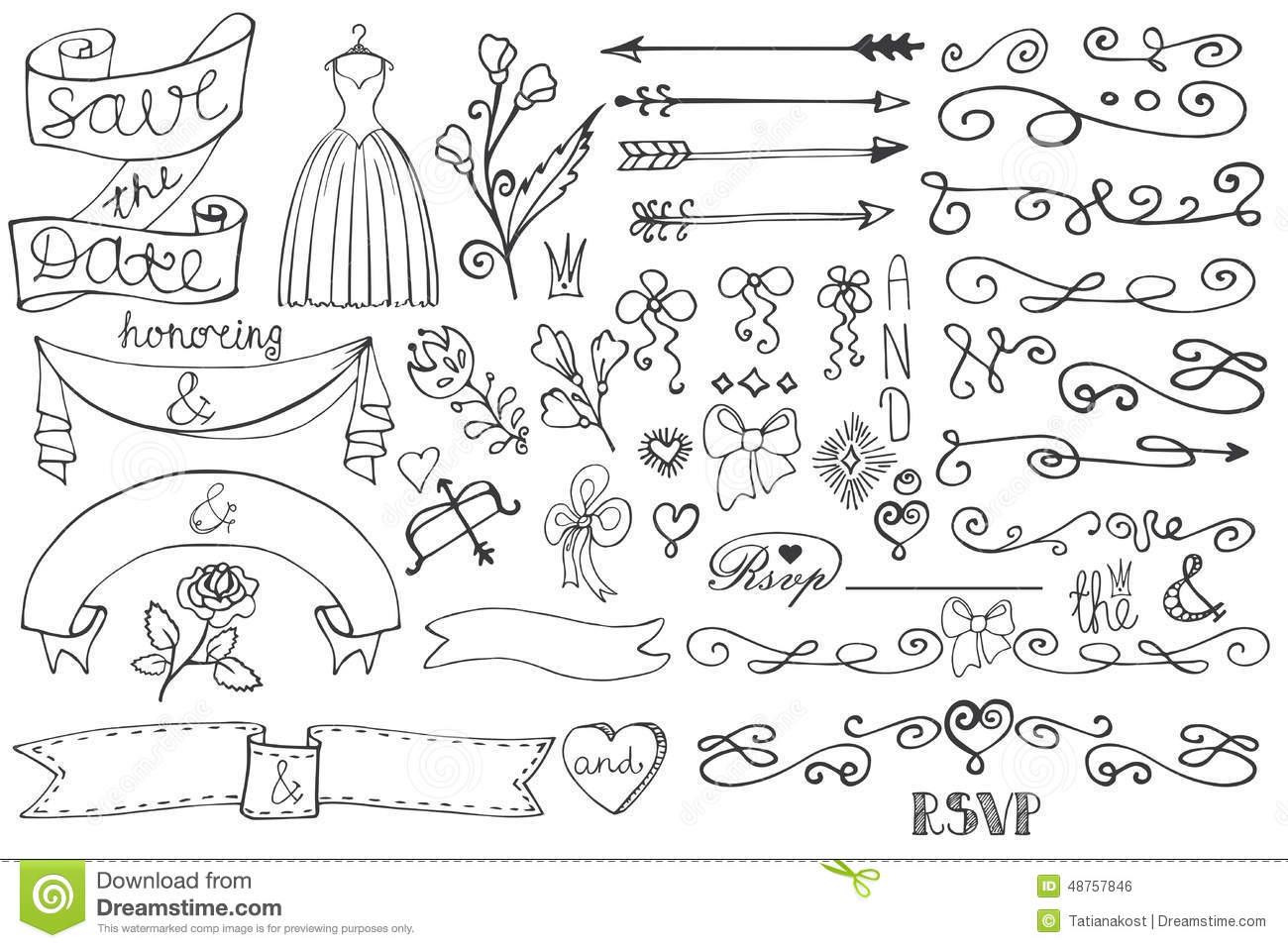Doodle Bridal Shower Border Ribbon Decor Elements Stock